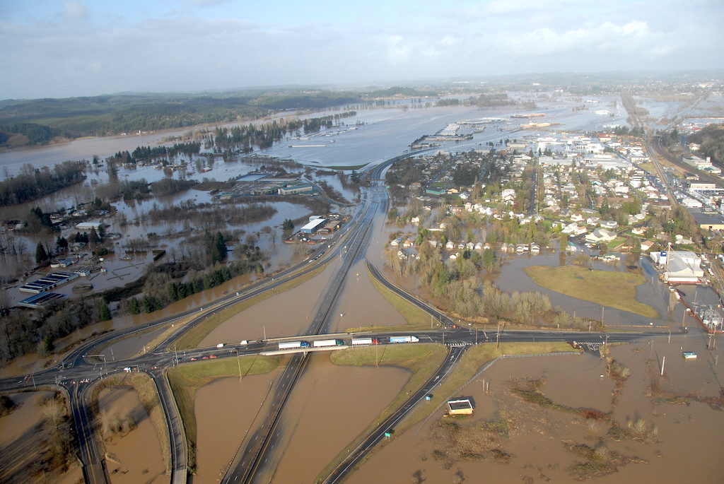 Aerial photo of flooding in Lewis County, WA. Photo: WSDOT