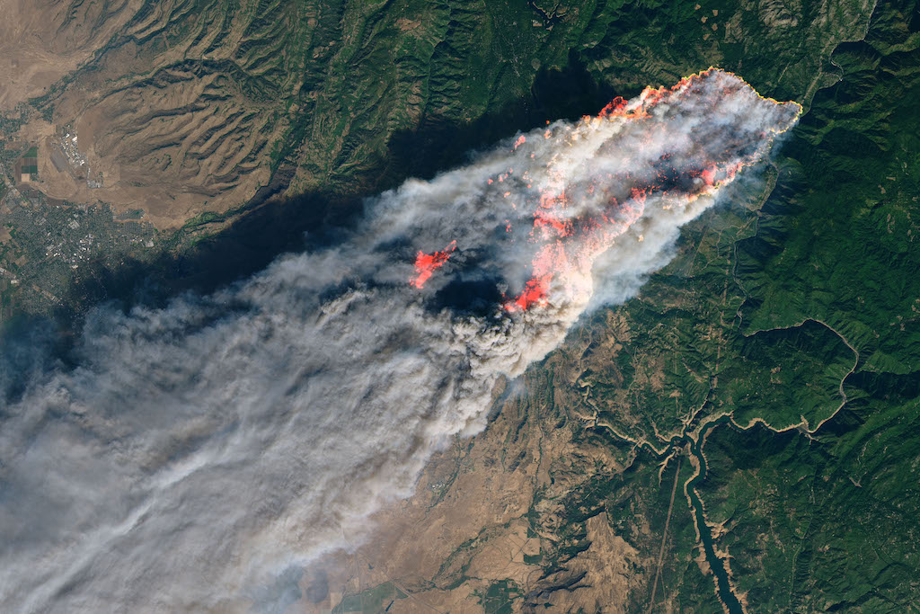 Satellite image of the 2018 Camp Fire in Butte County,California. Photo: NASA