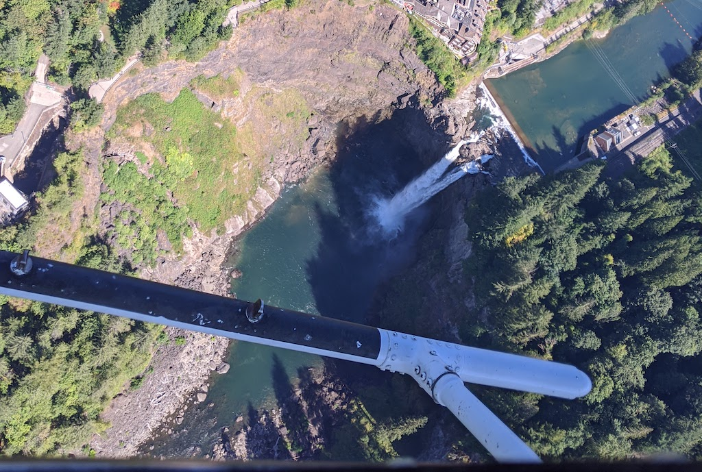 View of Snoqualmie Falls from a helicopter. Photo: Dan Restivo/USGS