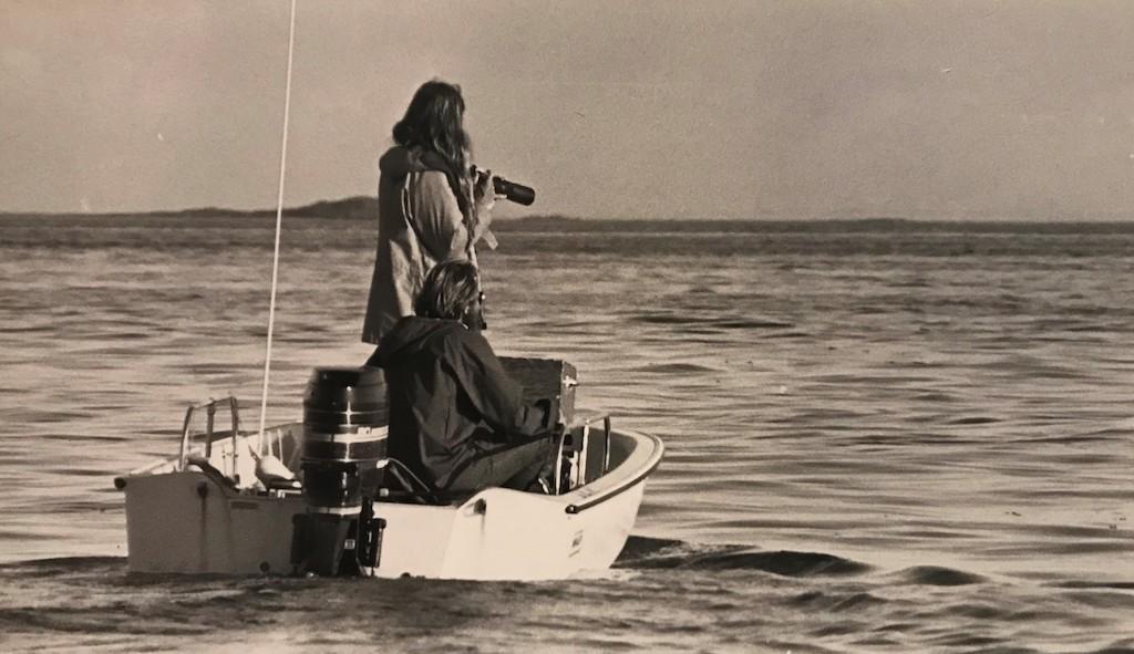 Two men in a motor boat