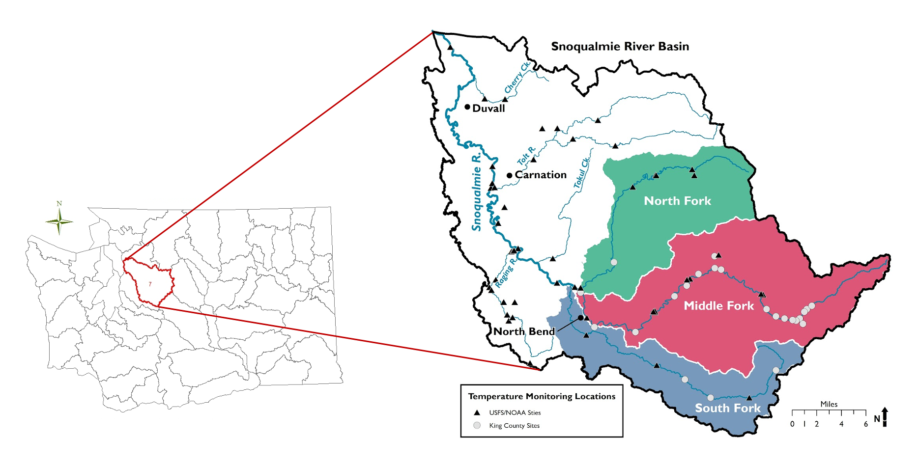 Location of Snoqualmie River basin in Washington (left) and map of water temperature monitoring sites in the basin (right). Map: SnoSCAT