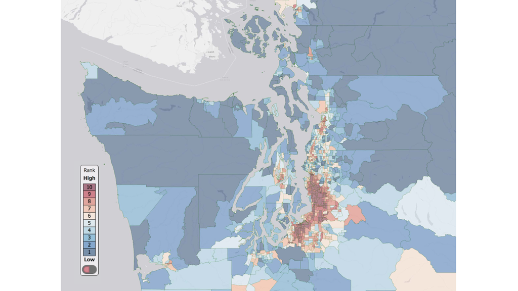Map of western Washington showing environmental health disparity data using different colors.