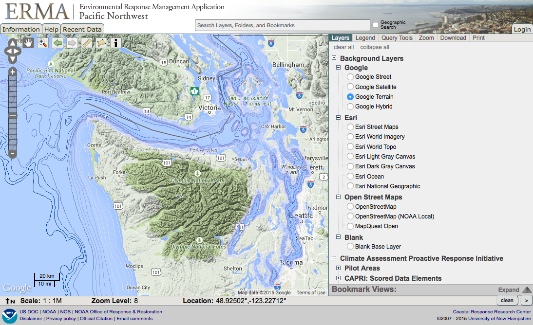 Pacific Northwest ERMA showing bathymetric contour data