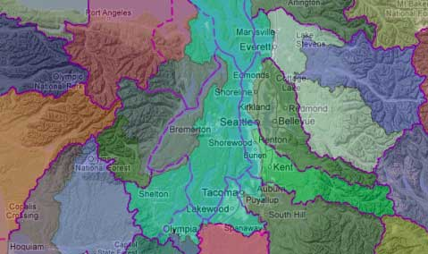 ERMA map: Watershed boundary subbasins with WRIA overlay