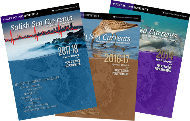 Salish Sea Currents printed yearbooks (2014, 2016-17, 2017-18)