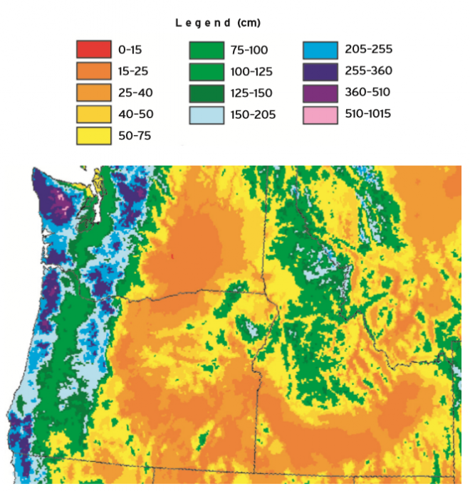 Pacific Northwest average annual precipitation - 1961-1990