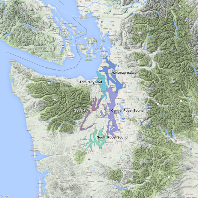 Puget Sound basins. Map: Kris Symer. Data source: WDFW.
