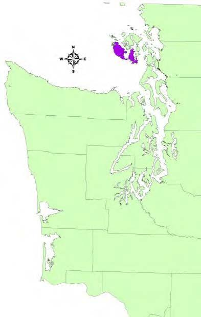 San Juan and Lopez islands in San Juan County, Washington.