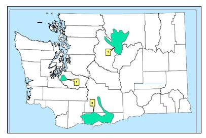 Figure 2. Current range of western gray squirrels in Washington (Linders and Stinson 2007).
