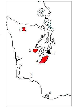 Figure 2. Distribution of six Mazama pocket gopher subspecies in Washington). 1. Thomomys mazama melanops 2. Thomomys mazama couchi 3. Thomomys mazama tacomensis (extinct) 4. Thomomys mazama 5. Thomomys mazama louiei (may be extinct) 6. Thomomys mazama douglasii (status uncertain)