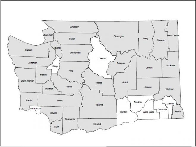 Counties in Washington where Townsend's big-eared bat have been recorded (gray shading).