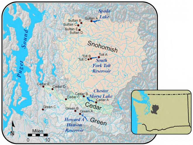Map of watersheds for the Everett, Seattle, and Tacoma water supply systems.