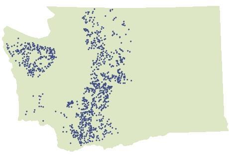 Cumulative distribution of 1,070 known spotted owl sites in Washington from 1976 to 2011. The number of currently occupied sites is unknown.