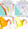 Predicted annual average Δ in surface temperature and salinity over (a) the entire Salish Sea domain, as well as (b) in the nearshore intertidal regions of the Snohomish River estuary (see Khangaonkar et al. 2019 for details).  Image courtesy of Journal of Geophysical Research: Oceans.