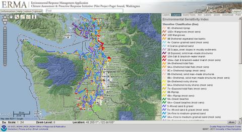 Screenshot of ERMA map showing shoreline classification
