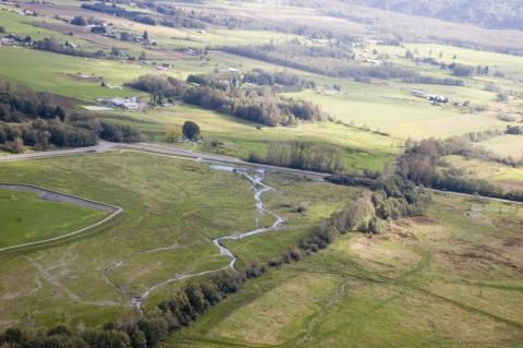 Aerial photo of Hansen Creek restoration site in Skagit County, WA. October 15, 2010. Photo: Kari Neumeyer/NWIFC
