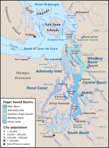 Map of Puget Sound and its main basins. Based on GeoBase and The National Map data. Credit: Pfly (CC BY-SA 3.0)
