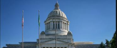 Washington state capital dome against blue sky