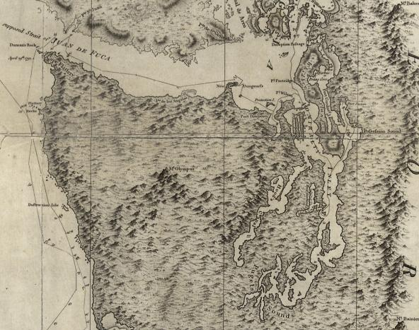 "Puget Sound portion of a 1798 chart showing ""part of the coast of N.W. America : with the tracks of His Majesty's sloop Discovery and armed tender Chatham / commanded by George Vancouver, Esqr. and prepared under his immediate inspection by Lieut. Joseph Baker."" Credit: Library of Congress, Geography and Map Division."
