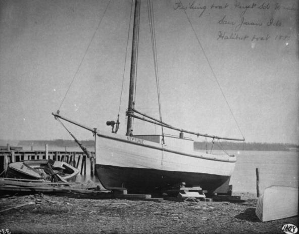 Fishing boat in the San Juans, 1895. Image courtesy of NOAA.