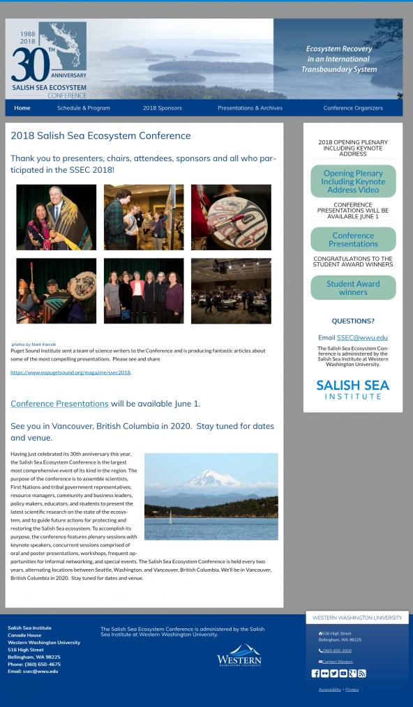 Screenshot of Salish Sea Ecosystem Conference website from 6/26/2018. https://wp.wwu.edu/salishseaconference/