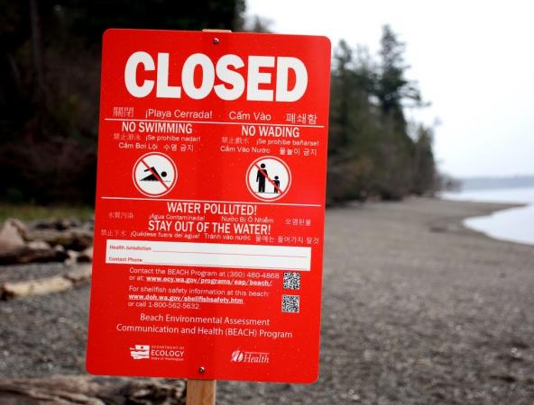 Beach closed sign. Photo: Washington Department of Ecology
