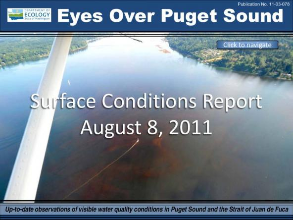 Eyes Over Puget Sound: Surface Conditions Report - August 8th, 2011