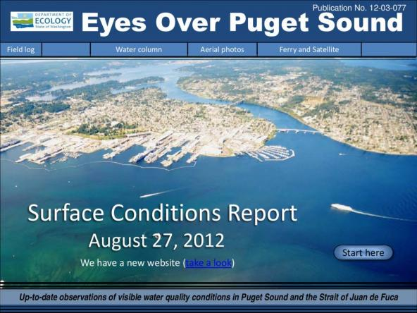 Eyes Over Puget Sound: Surface Conditions Report - August 27, 2012