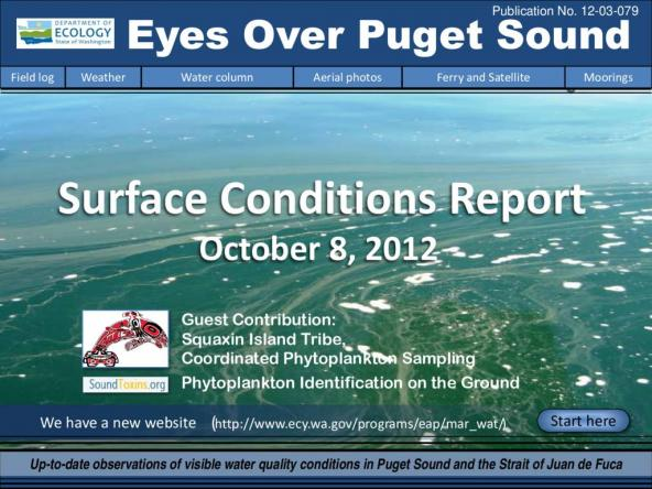 Eyes Over Puget Sound: Surface Conditions Report - October 8, 2012