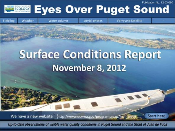 Eyes Over Puget Sound: Surface Conditions Report - November 8, 2012