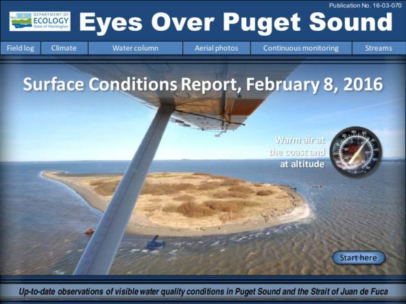 Eyes Over Puget Sound: Surface Conditions Report – February 8, 2016