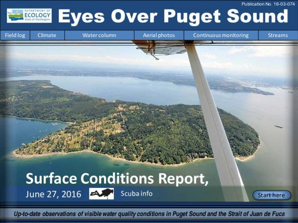 Eyes Over Puget Sound: Surface Conditions Report – June 27, 2016