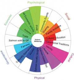 Visual representation of Human Wellbeing domains for marine policy.