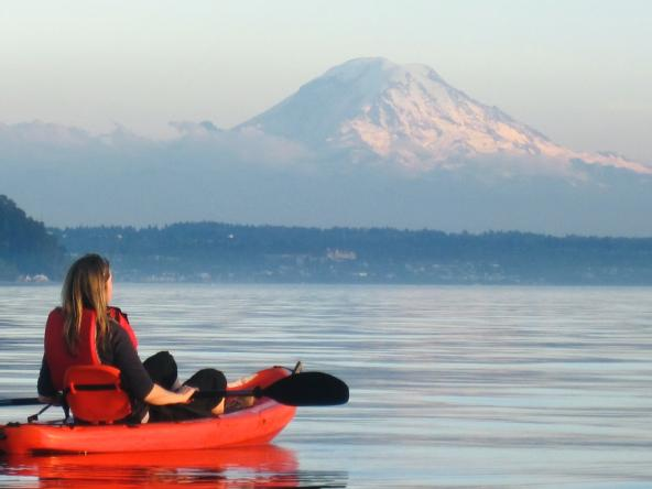 A kayaker on Puget Sound. Photo courtesy of Washington State Department of Ecology.