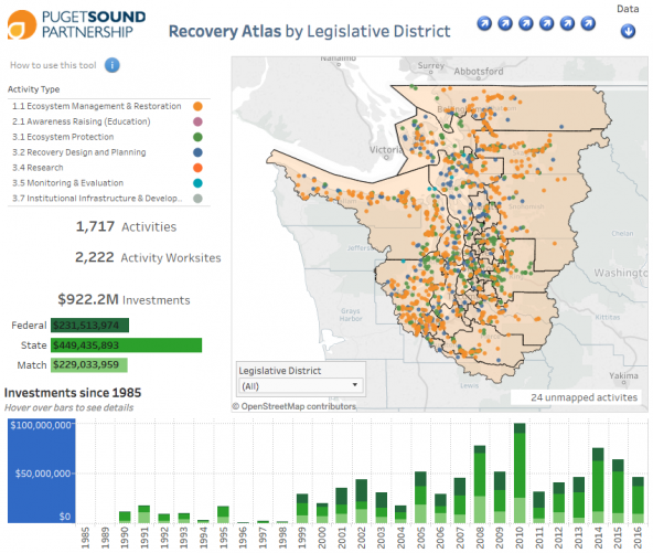 Screenshot of Puget Sound Recovery Atlas view by Legislative District