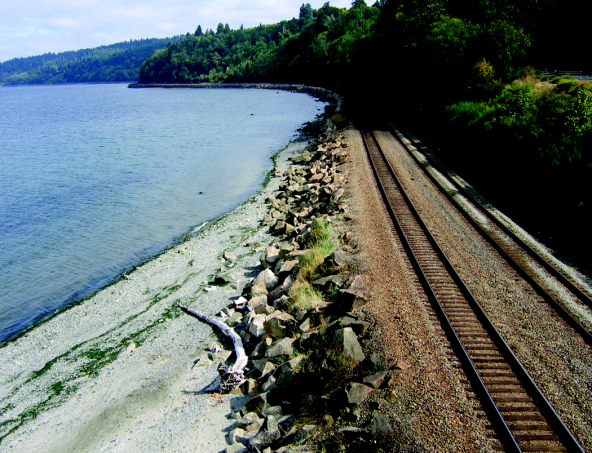 Shoreline armoring along railroad