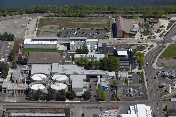 The Budd Inlet sewage treatment plant. Photo courtesy of LOTT Clean Water Alliance