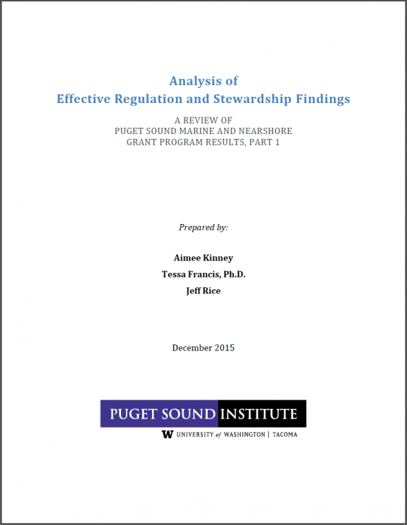 report cover: Analysis of  Effective Regulation and Stewardship Findings