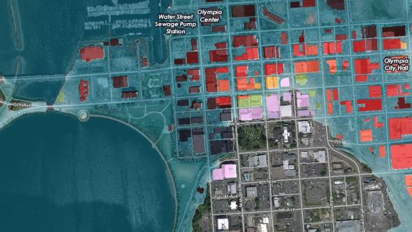 GIS is used to illustrate sea-level rise scenarios in downtown Olympia. Story map by City of Olympia: https://arcg.is/LSyOO