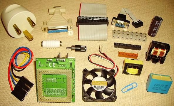 Electrical and electronic components made from plastics. Most polymers are flammable and contain flame retardant additives. Public domain photo: https://commons.wikimedia.org/wiki/File:Plastic_electrical_components.jpg