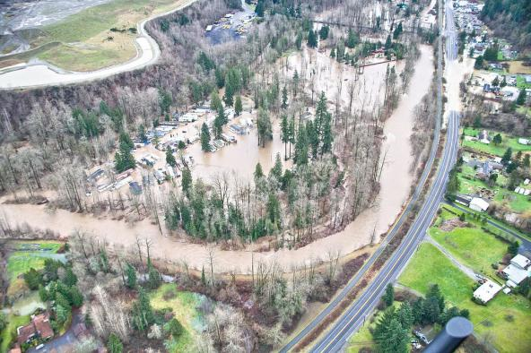 Historic flooding of Cedar Grove Mobile Home Park at Rainbow Bend on the Cedar River, King County, WA. Photo courtesy: Floodplains by Design