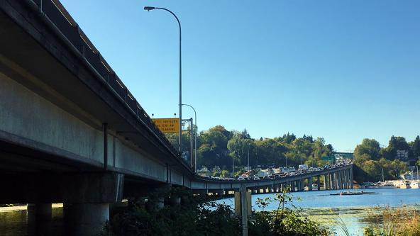 SR-520 bridge traffic in Seattle. Photo: Kathy Peter