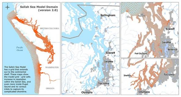 Salish Sea Model Domain (Version 2.0): expanded intermediate-scale grid extending out to the continental shelf.  Graphic: WA Ecology