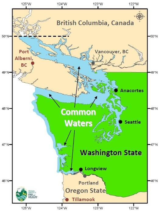 Map showing Washington common waters. Graphic: WDFW