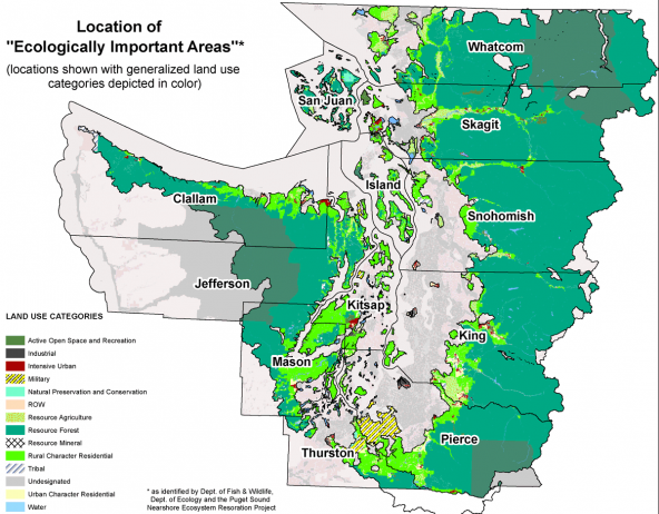 Location of Ecologically Important Areas in the Puget Sound watershed.