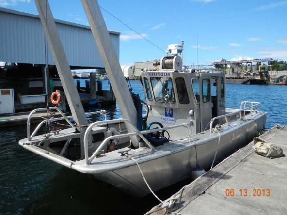 Chinook research boat used in study to audit shoreline changes.  Photo courtesy King County.