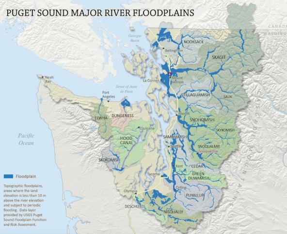 Map of major river floodplains in the Puget Sound watershed. Data source: USGS; Graphic: Floodplains by Design.