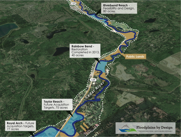 Map showing the Rainbow Bend restoration project. Completed in 2013, it is part of the Cedar River Corridor Plan. Graphic courtesy: Floodplains by Design.