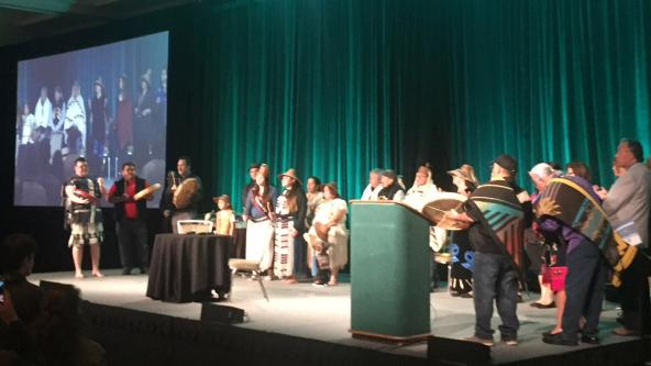 Coast Salish peoples welcome guests to the conference. Photo: Jeff Rice/PSI