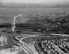 Evergreen Point Bridge under construction, 1963. Photo © Seattle P-I/MOHAI.